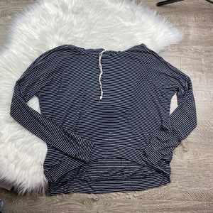 Brandy Melville Striped Soft Long Sleeve Hood Top